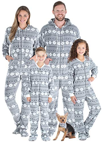 SleepytimePJs Family Matching Fleece Grey Snowflake Onesie Hooded Footed Pajama, Grey Snowflake, Women's MED