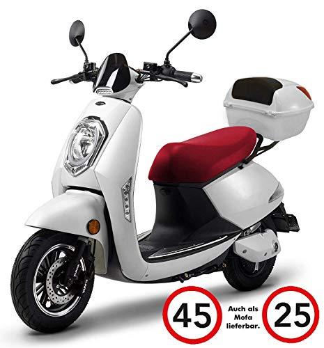 Elektroroller Elettrico, 1200 Watt, E-Motor, bis zu 60 km Reichweite, E-Roller, Straßenzulassung, E-Scooter, Elektro-Roller, 45 km/h, Lithium-Akku, Produktvideo, weiß