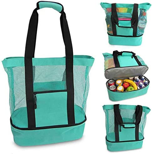 Outdoor Mesh Beach Tote Bag with Cooler Compartment Insulated Detachable Picnic Bag with Zipper product image