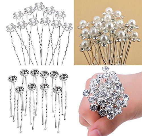 Tesan 40 Stück Hochzeit Haarnadeln Perlen Blumen Braut Haarschmuck Strass für Brautfrisur Kommunion Konfirmation Taufe Party,2 Stil
