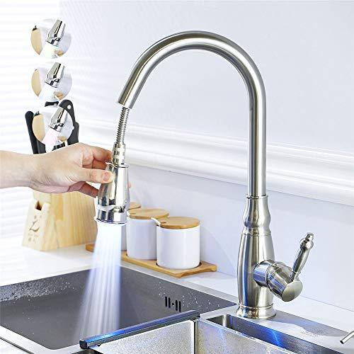 WanuigH Grifo Mezclador de baño de Barra LED Grifo de la Cocina con un sofá pulverizador Caliente y fría del Grifo del Fregadero Grifo Giratorio en línea Negro Grifo de la Cocina