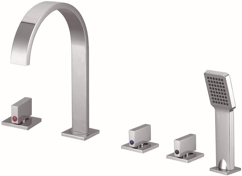 Europa und die Vereinigten Staaten weihten Badezimmer-Hahn-neues Quadrat-aufgeteilte überzug-Kupfer ein, das heien und kalten Becken-Hahn Wt12507 dreht