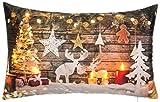 Brandsseller Weihnachtskissen LED Beleuchtet Timer Dekokissen Leuchtkissen 6 LED`s Zierkissen 50x30...
