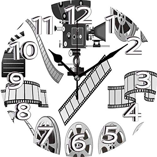 XXSCXXSC Wall Clock Movie Theater Movie Industry Themed Greyscale Illustration Of Projector Film Slate And Reel Grey Black Silent Clock
