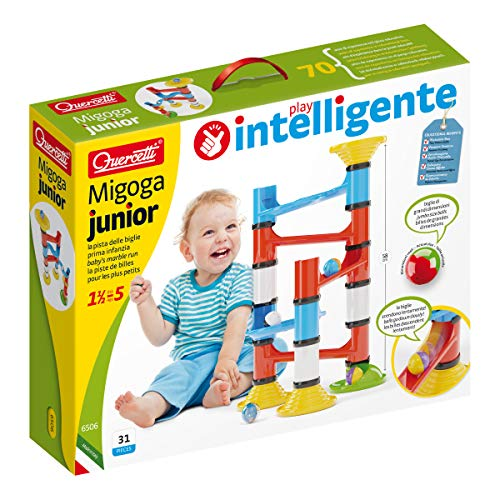 Quercetti - Migoga Junior - Beginner Marble Run with Large Pieces and Rattling Balls, for Ages 18 Months +