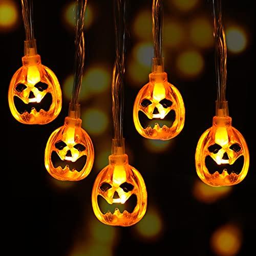 Guirnaldas Luces Halloween, Guirnalda Luminosas de Calabazas Halloween, Cadena de Luces con 30 LEDs de Calabazas Naranjas, con IR Control Remoto, 8 Modo Luces Decoración para Halloween Navidad Fiesta