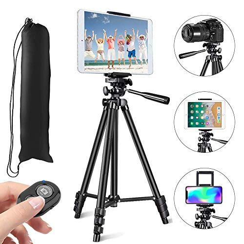"MOREVON Tripod for ipad, [2020 Upgrade] 53"" Tripod for iPhone Camera Tablet, Lightweight Aluminum Tripod Stand with Remote Shutter, Universal 2 in 1 Phone/Tablet Holder, for Smartphone, Tablet, Camera"