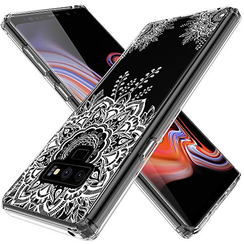 LK Case for Galaxy Note 9, [Shock Absorbing] White Henna Mandala Floral Lace Clear Design Printed Air Hybrid with TPU Bumper Protective Case Cover for Samsung Galaxy Note 9 - Clear