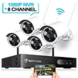 HeimVision HM241 Wireless Security Camera System, 8CH 1080P NVR 4Pcs 960P Outdoor/ Indoor WiFi Surveillance Cameras with Night Vision, Weatherproof, Motion Detection, Remote Monitoring, No Hard Drive