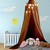 Raguso Mehrfarbige weiche Baumwolle Rundbett Baldachin, hängendes Bett Weiche Baumwolle Baldachin Vorhang Moskitonetz Vorhang für Baby Kinder Schlafzimmer Dekoration(Gelbliches Braun)
