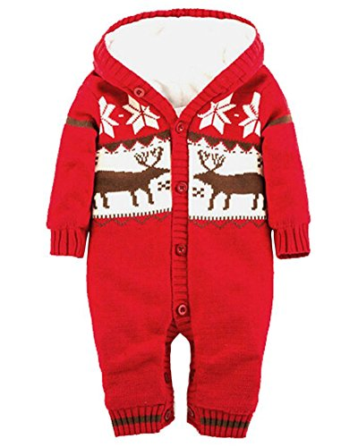 Minetom Winter Weihnachten Elche Gestrickt Spieler für Baby Mädchen Jungen Jumper Overall Unisex Jumpsuit mit Kapuze Rot 77cm