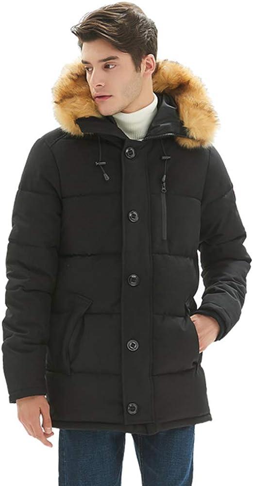 PUREMSX Men's Hooded Thick Cotton Puffer Jacket, Winter Down Alternative Quilted Snorkel Parka Jacket Men with Detachable Faux Fur Trim Hood Collar Anorak Coat,Black,X-Large