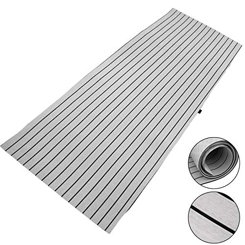 Happybuy Boat Decking Sheet 94.5 X 35.4 Inch 6MM Thick Non-Skid EVA Foam Faux Teak Decking Self-Adhesive Marine Yacht RV Swimming Pool Garden Boat Flooring Sheet (Grey with Black Seam, 94.5' x 35.4')