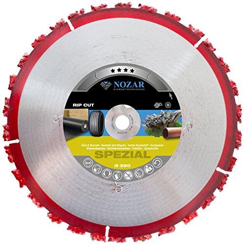 NOZAR Rip Cut Ø350 mm mit Bohrung 20 mm (6702168)  Hartmetall-Trennscheibe für Baum-Wurzeln, Holz, Dachpappe, Bitumenbahnen, Gummi & Kunststoff