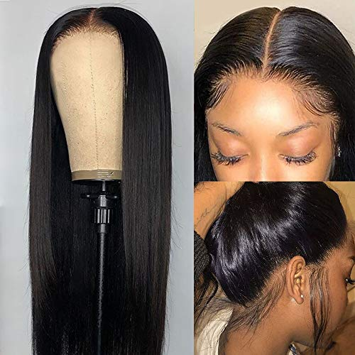 CHEETAHBEAUTY Brazilian Virgin Human Hair Wigs 4x1 Straight T Part Lace Front Wigs for Black Women Pre Plucked with Baby Hair Natural Black 150% Density(18inch,4x1T Part Wig)