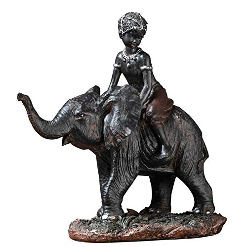LINAG Estatua Decorativa de Elefante Moderno Esculturas de Resina, Niño Montando un Elefante por la Riqueza y la Buena Suerte Decoración Hogareña,Picture