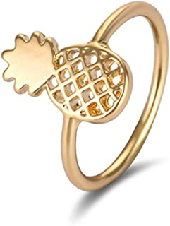 MLJB Gold Plated 14k & Sterling Silver Plated 3D Hollow Pineapple Charm Band Ring