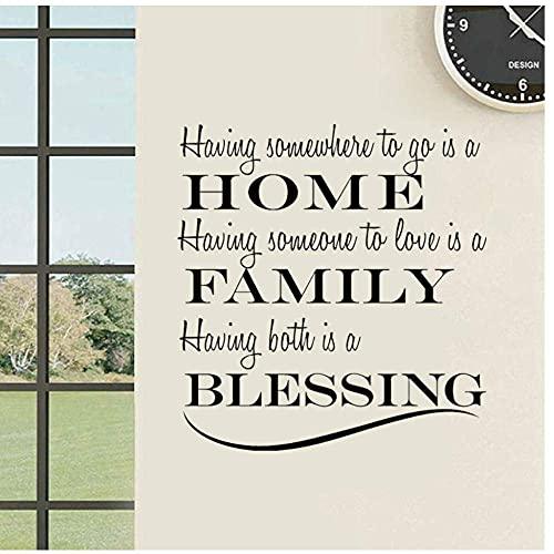 Home Family Blessing Simple Letter Art Home Pvc Para Sala De Estar Etiqueta De La Pared Dormitorio Decoración Para El Hogar 53X57Cm