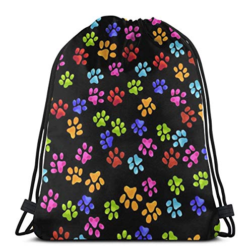 March flowers Rainbow Paw 3D Print Drawstring Backpack Rucksack Shoulder Bags Gym Bag for Adult 16.9\