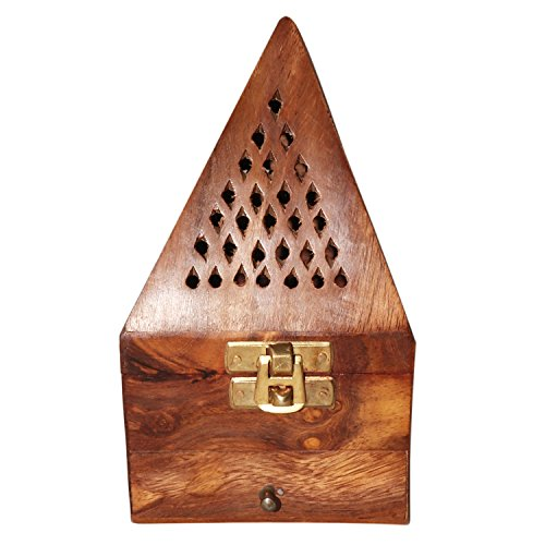 vrinda Wooden Pyramid Cone/Charcoal Burner with Storage Net Carving