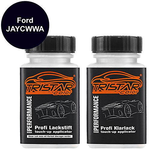 TRISTARcolor Autolack Lackstift Set für Ford JAYCWWA Pantherschwarz Perl/Negro Grafito Metallic Basislack Klarlack je 50ml
