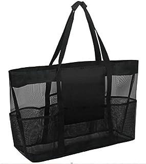 YHomU Travel Outdoor Picnic Beach Bag Mesh Hollow Lightweight Causal Portable Large Capacity Beach Tote Bag Beach Shoulder...