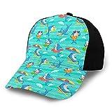 ZORIN Gorra de béisbol divertido lindo tiburón dibujos animados playa 3D ajustable Snapback deportes camionero sombrero negro