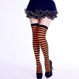 JIAJIAJIA Socken 1 Paar Neue Frauen Mädchen Halloween Party Strümpfe Über Knie Langen Streifen Drucken Oberschenkel Hoch Gemustert