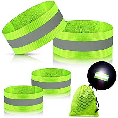 Skylety 4 Pieces Reflective Bands High Visibility Reflector Bands Reflective Straps Tape Bracelets Reflective Running Gear for Women Men Running Cycling Walking Arm Wrist Ankle Leg