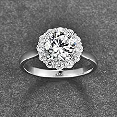 Bonlavie Women's 925 Sterling Silver 3.5ct Brillant Solitaire Round Cut White Cubic Zirconia Engagement Wedding Promise Ring for Girlfriend Lover (S 1/2) #3