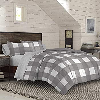 IZOD Buffalo Plaid Set with Breathable Light Weight and All Season Super Soft and Hotel Quality Comforter with Machine Washable Twin Gray/White