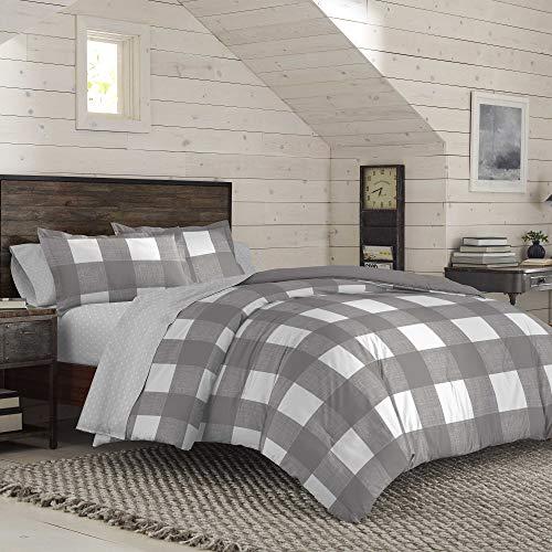 IZOD Buffalo Plaid Comforter Set, Full/Queen, Gray/White