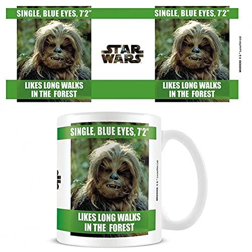 1art1 Star Wars, Chewbacca, Likes Long Walks In The Forest Taza Foto (9x8 cm) Y 1x Pegatina Sorpresa