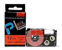 カシオ ネームランド用 互換 テープカートリッジ 12mm XR-12RD 赤地黒文字