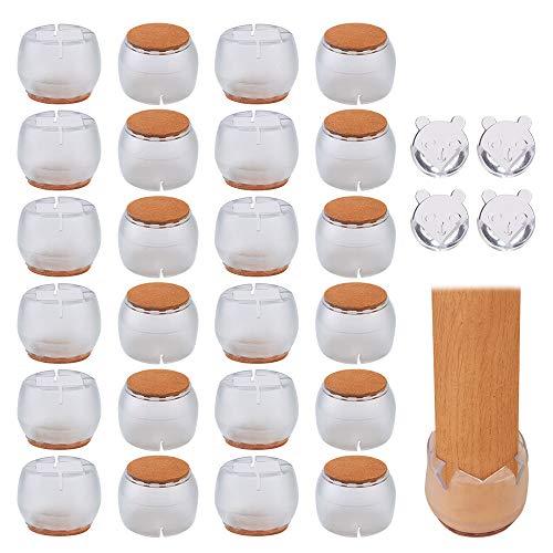Protectores Patas Sillas, 24Pcs Silla Pierna Caps Tabla de Muebles Fundas para Protectores de Suelo de Madera para Evitar Arañazos Ruidos con Protector de Esquina de Mesa 4pcs (22-26mm/26-31mm)