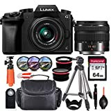 Panasonic Lumix DMC-G7 Mirrorless Micro Four Thirds Digital Camera with 14-42mm Lens (Black) + Essential Starter Accessory Bundle incl. Wide-Angle & Telephoto Conversion Lens, Gadget Bag & More