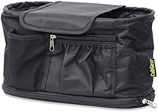 Universal Stroller Organiser, Best Quality Multi-Purpose Accessories Bag with Free Shoulder Strap Included, All Your Gear In One Easy To Access Carry-All With Two Cup / Beverage Holders, Black, by ...