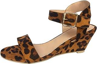 Women's Summer Ankle Strap Buckle Low Wedge Platform Heel Sandals Fashion Design Pump Shoes (US:6.5, Beige)