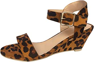 Women Open Toe Leopard Print Wedge Shoes ❀ Ladies Fashion Buckle Strap Roman High Heel Sandals