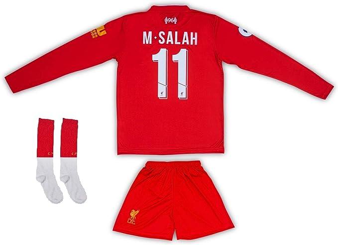 AND Liverpool #11 Salah 2019/2020 - Maglia a Maniche Lunghe con Pantaloncini e Calzini, per Bambini e Ragazzi