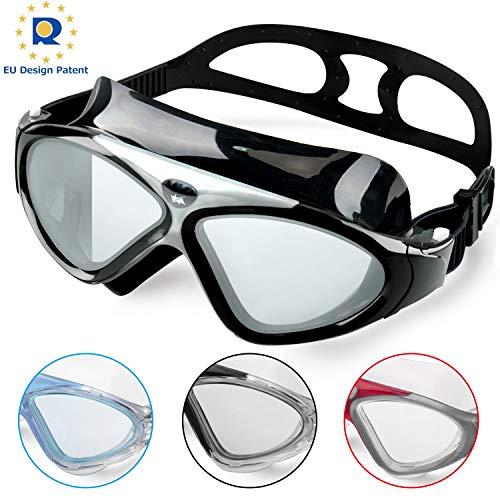 Schwimmbrille Erwachsene Anti Fog Ohne Leakage deutlich Anblick UV Schutz 180°Weitsicht Einfach zu anpassen,Professional Super komfortabeler Schwimmbrille für Herren und Damen(Fullblack/Tinted Lens)