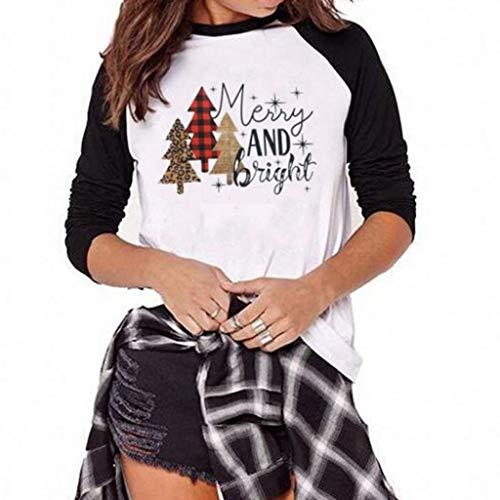 Xmiral Langarmshirts Damen Patchwork Weihnachten Bluse Buchstabe Drucken Sweatshirt Slim Fit Lange Ärmel T-Shirt Hemd Oberteile(a Schwarz,XL)