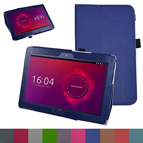 MAMA MOUTH bq Aquaris M10 Funda, Slim PU Cuero con Soporte Funda Caso Case para 10.1' bq Aquaris M10 FullHD FHD HD/Aquaris M10 Ubuntu Edition Android Tablet,Azul Oscuro