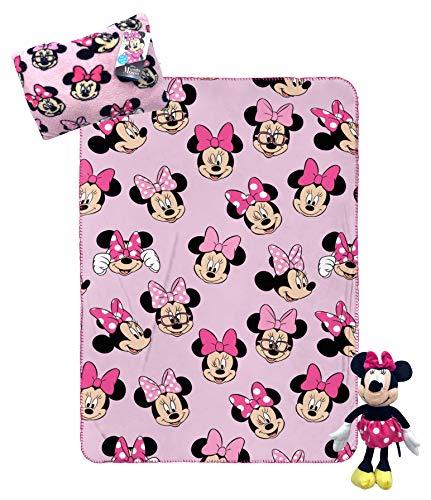 Jay Franco Disney Minnie Mouse - Juego de viaje de 3 piezas para niños, incluye manta, almohada, felpa (producto oficial Disney Pixar)