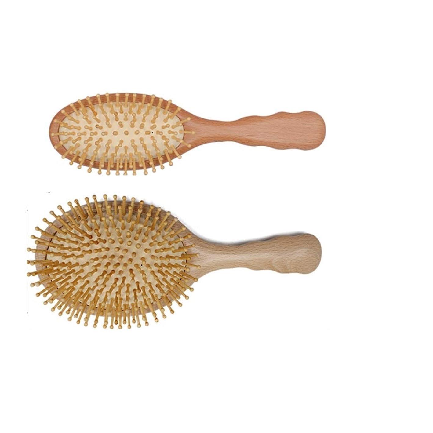 ピアース撃退するドロー人および女性のための木の剛毛のマッサージの頭皮の櫛が付いている10インチの天然木のゴム製ヘア?ブラシ モデリングツール (サイズ : S)