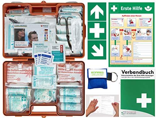 Verbandskoffer/Verbandskasten (G) Typ N -Komplettpaket- Erste Hilfe nach DIN 13169 für Betriebe -DSGVO- INKL. PERFORIERTEM VERBANDBUCH + Notfallbeatmung & Aufkleber + Aushang