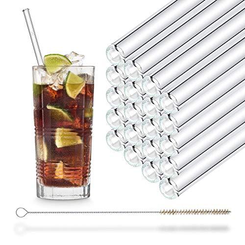 HALM Glas Strohhalme 23 cm 20 Stück gerade Wiederverwendbar Trinkhalm + plastikfreie Reinigungsbürste Spülmaschinenfest - Nachhaltig - Glastrinkhalme Glasstrohhalme für Smoothies, Long-Drinks, Saft