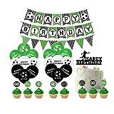 Comius Sharp Fußball Thema Geburtstagsfeier Dekorationen, 47 Stück Happy Birthday Banner mit Latex Luftballons, Kuchen Karten, Flaggen für Kinder Jungen Mädchen Geburtstagsfeier Lieferungen