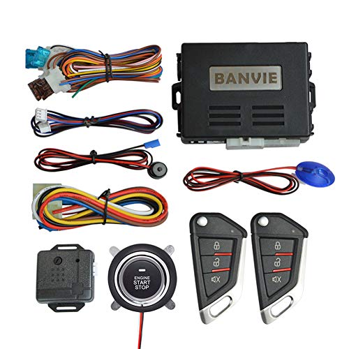 BANVIE Car Keyless Entry Security Alarm System with Remote Engine Start and Push to Start Stop Iginition Button Kit