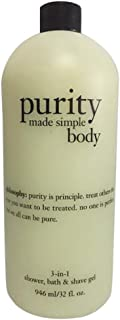 Philosophy Purity Made Simple Body 3-In-1 Shower, Bath & Shave Gel, 32 oz